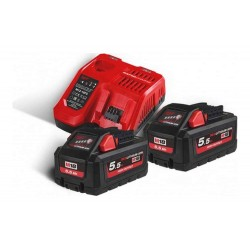 Set 2 acumulatori REDLITHIUM-ION™ M18 18V, 5.5 Ah si incarcator Milwaukee M18HNRG-552