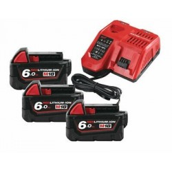 Set 3 acumulatori REDLITHIUM-ION™ M18B6 18V, 6.0Ah si incarcator Milwaukee M18NRG-603