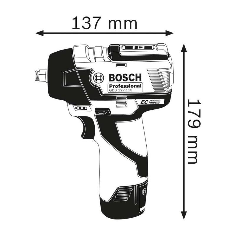 Masina de insurubat cu impact Bosch compatibila cu acumulator  GDS 12V-115
